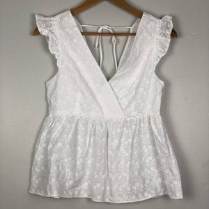 & Other Stories Ruffle Eyelet Surplice Tank Top S